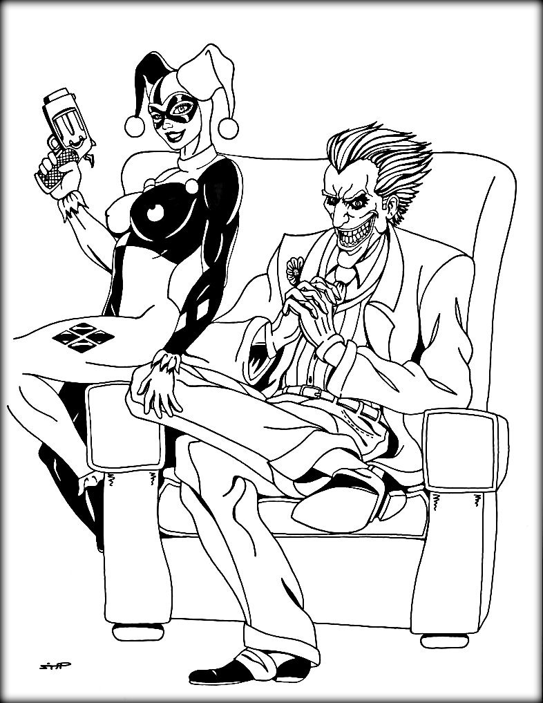 harley quinn and joker coloring pages - joker coloring pages