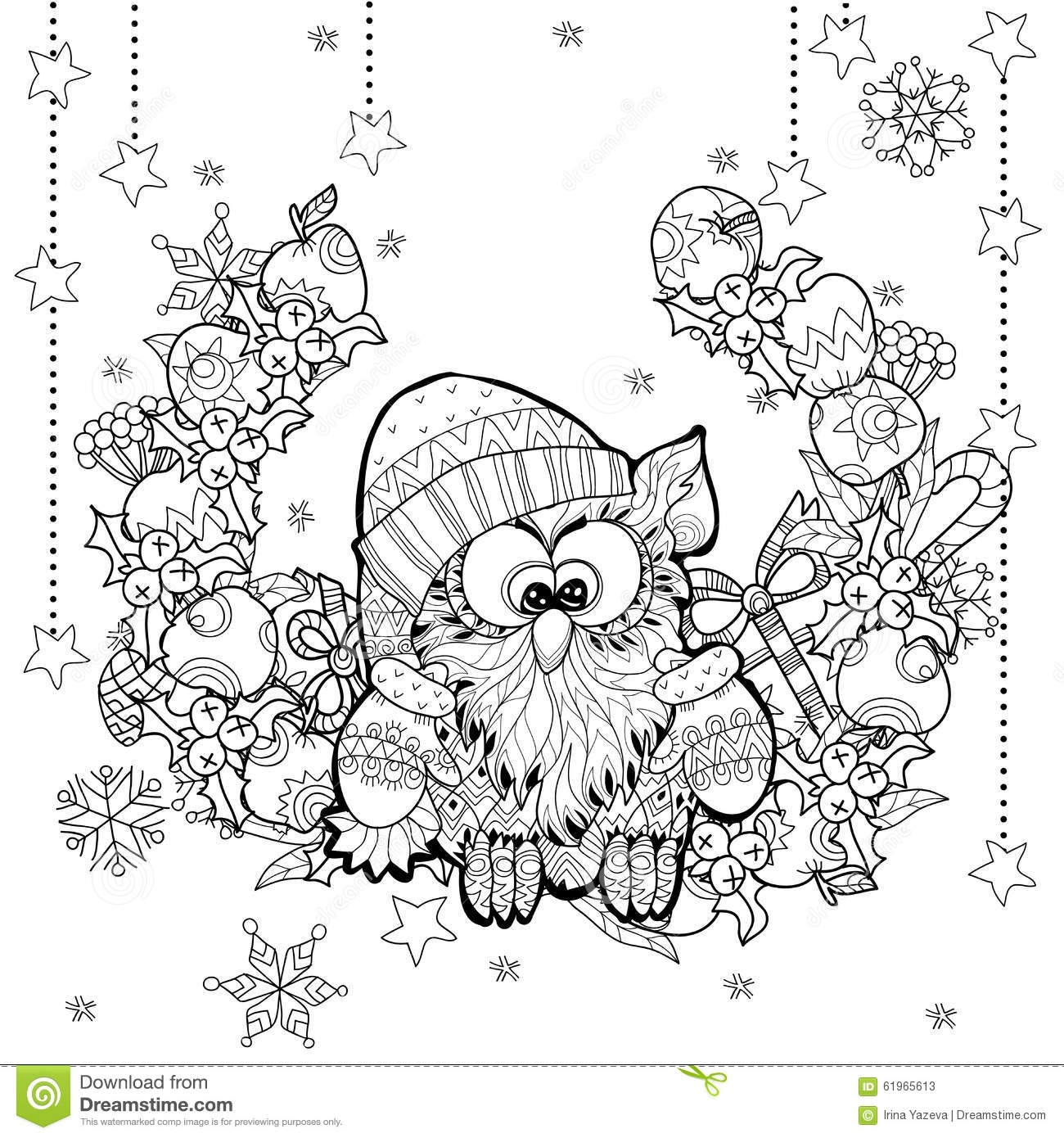 harry potter printable coloring pages - stock illustration christmas owl t box zentangle doodle vector illustration layered ready coloring image
