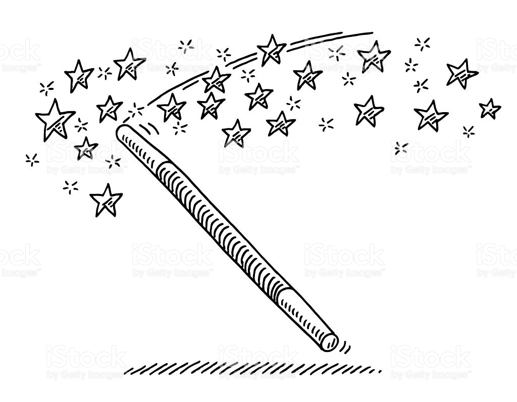 harry potter printable coloring pages - magic wand stars drawing gm