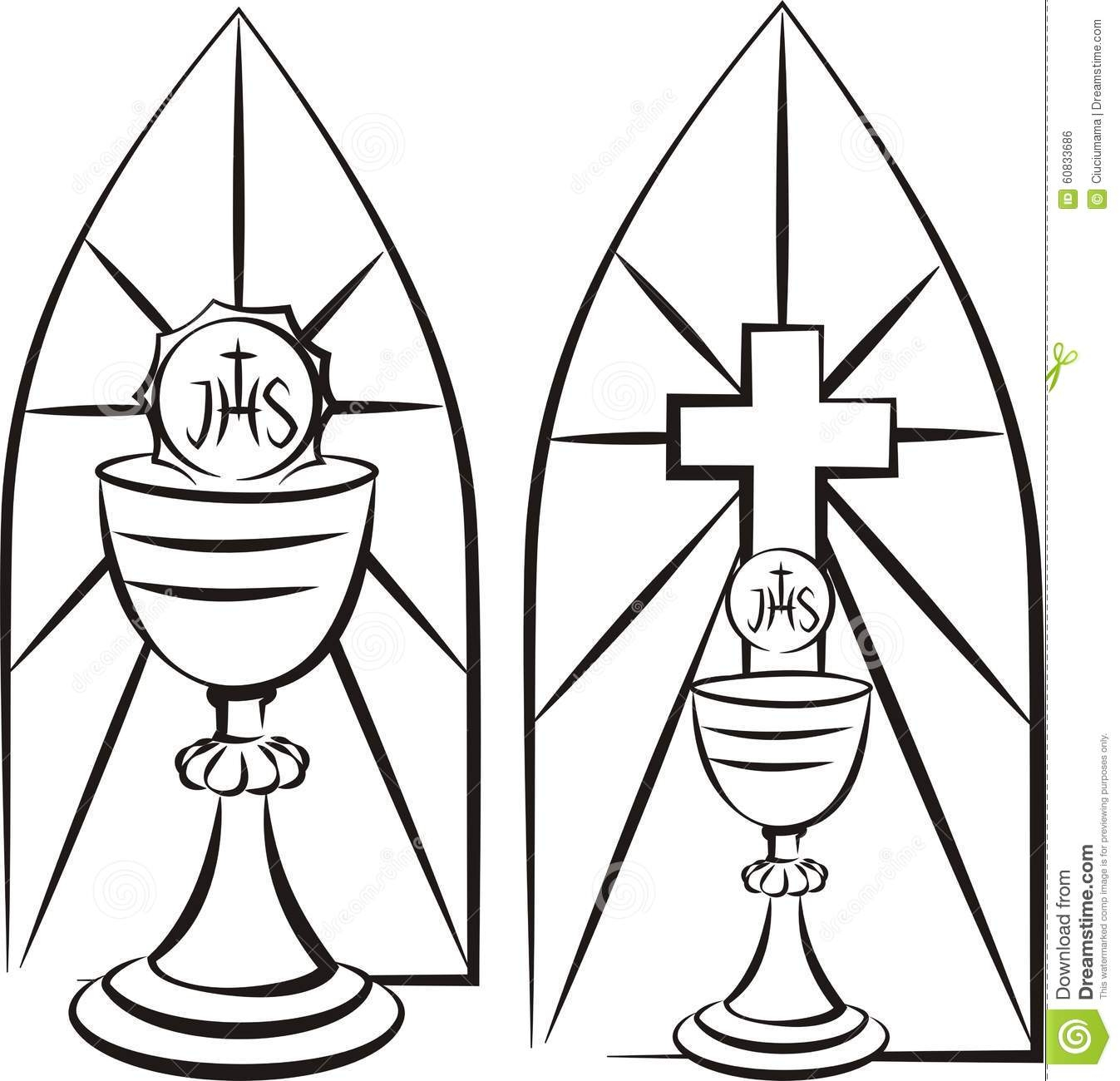 harvest coloring pages - stock illustration chalice background stained glass first holy munion black white vector outlines eucharist image
