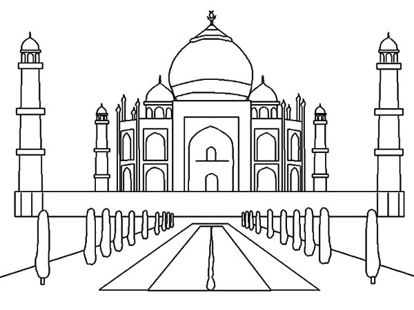 harvest coloring pages - sketch of taj mahal in india worldwonders coloring pages