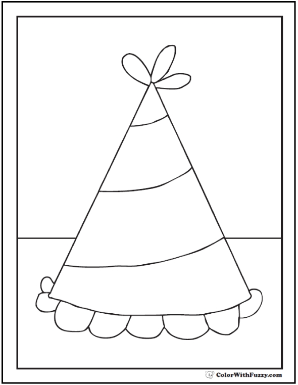 hat coloring page - birthday coloring pages