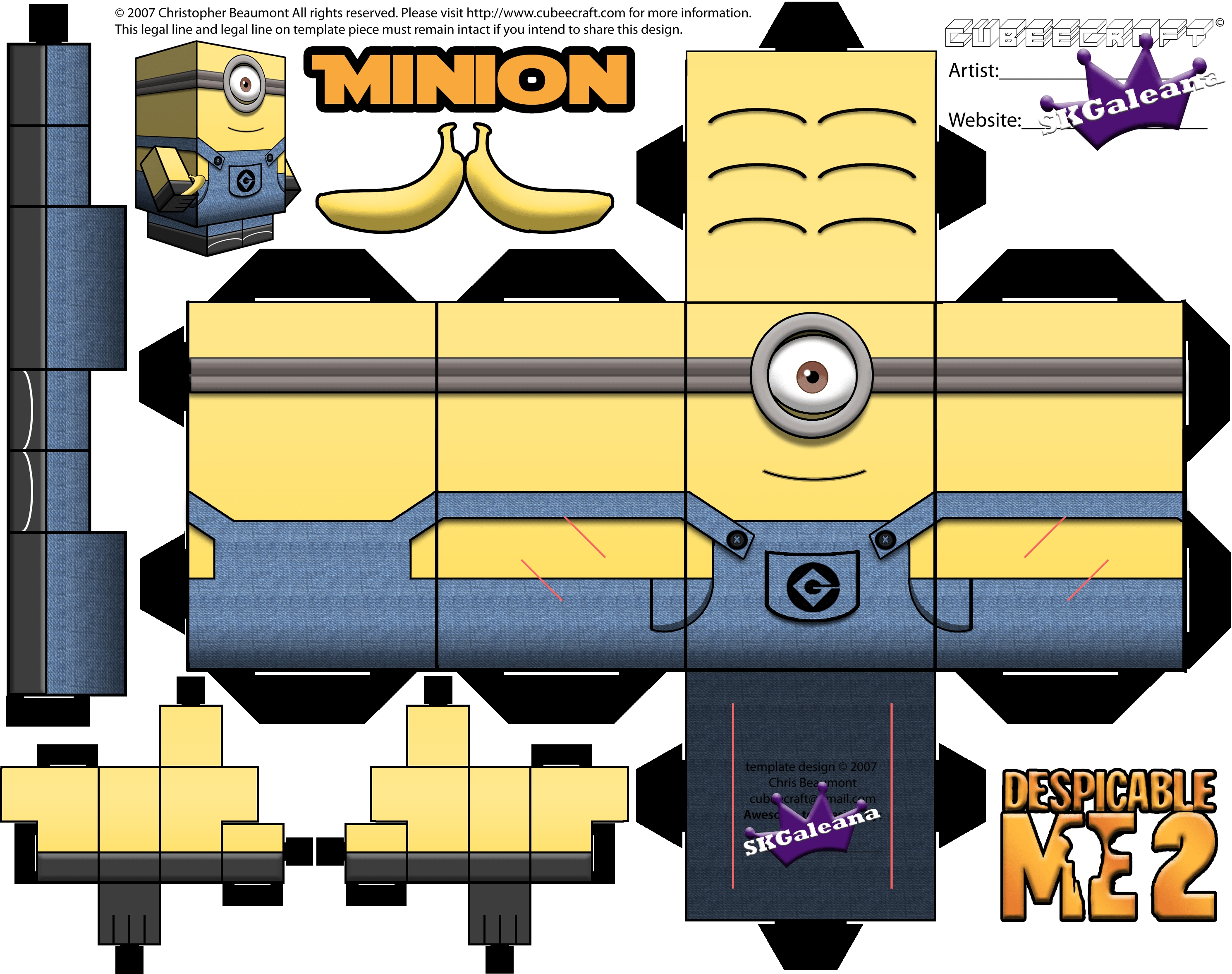 hat coloring page - minion cubeecraft printables from despicable me 1 and 2