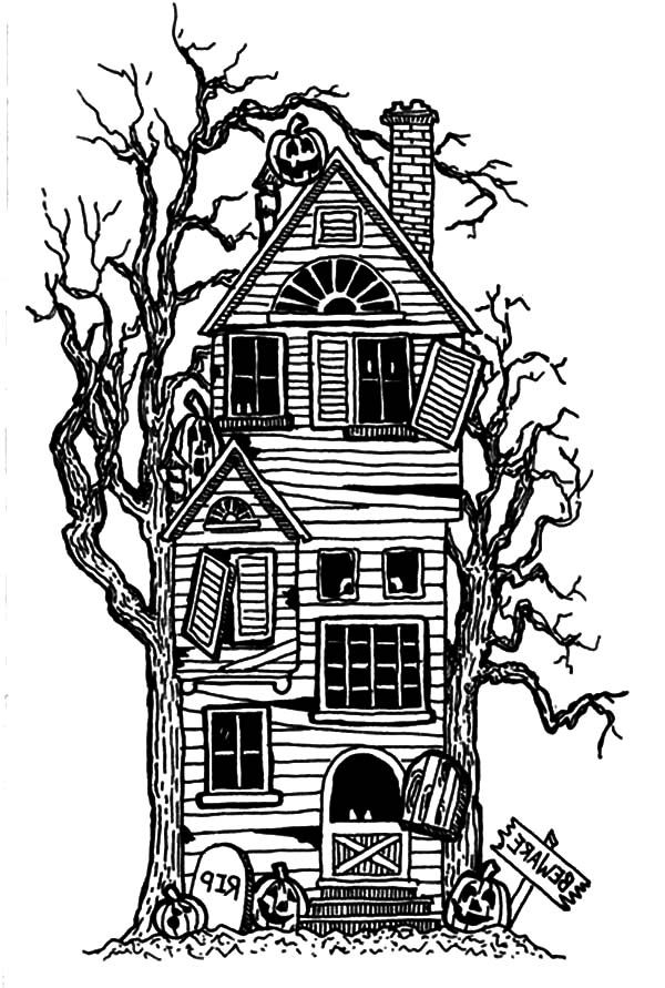 25 Haunted House Coloring Pages Printable