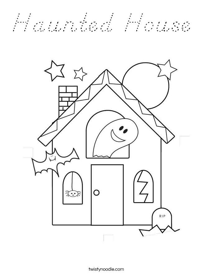 haunted house coloring pages - dnealian outline