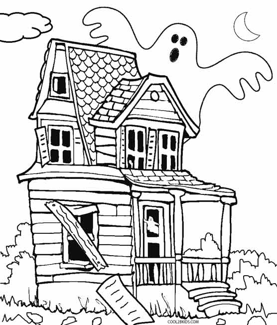 haunted house coloring pages - haunted house