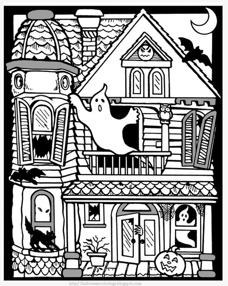 haunted house coloring pages printable halloween haunted house - Haunted House Coloring Sheet