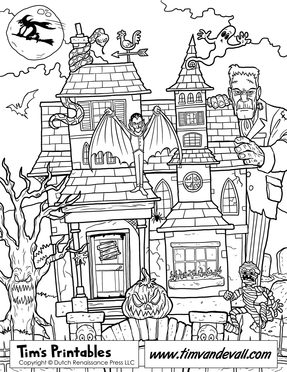 haunted house coloring pages - haunted house coloring page