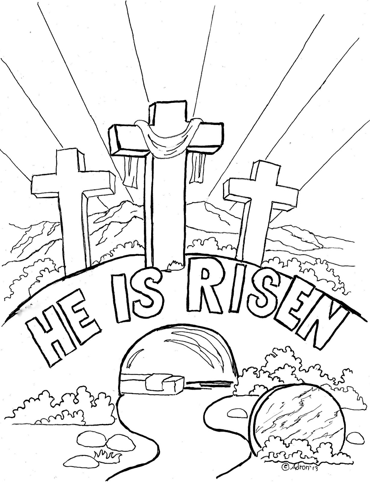 he is risen coloring page - easter coloring page for kids he is