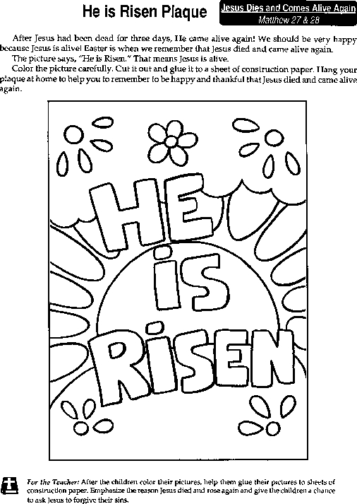 he is risen coloring page - r=he has risen