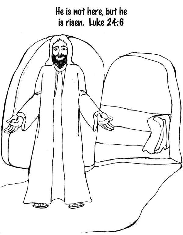he is risen coloring page - luke24 6