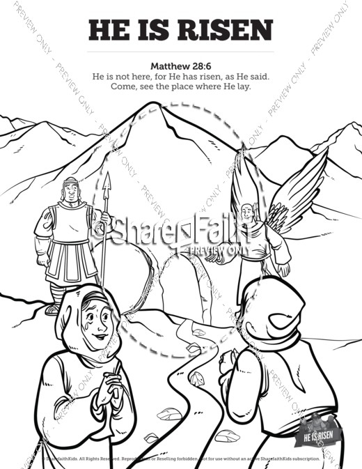 he is risen coloring page - matthew 28 he is risen easter sunday school coloring pages