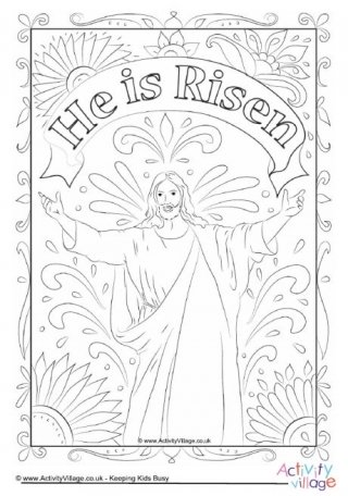 he is risen coloring page - stained glass window colouring page