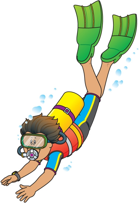 health coloring pages - scuba diver clipart