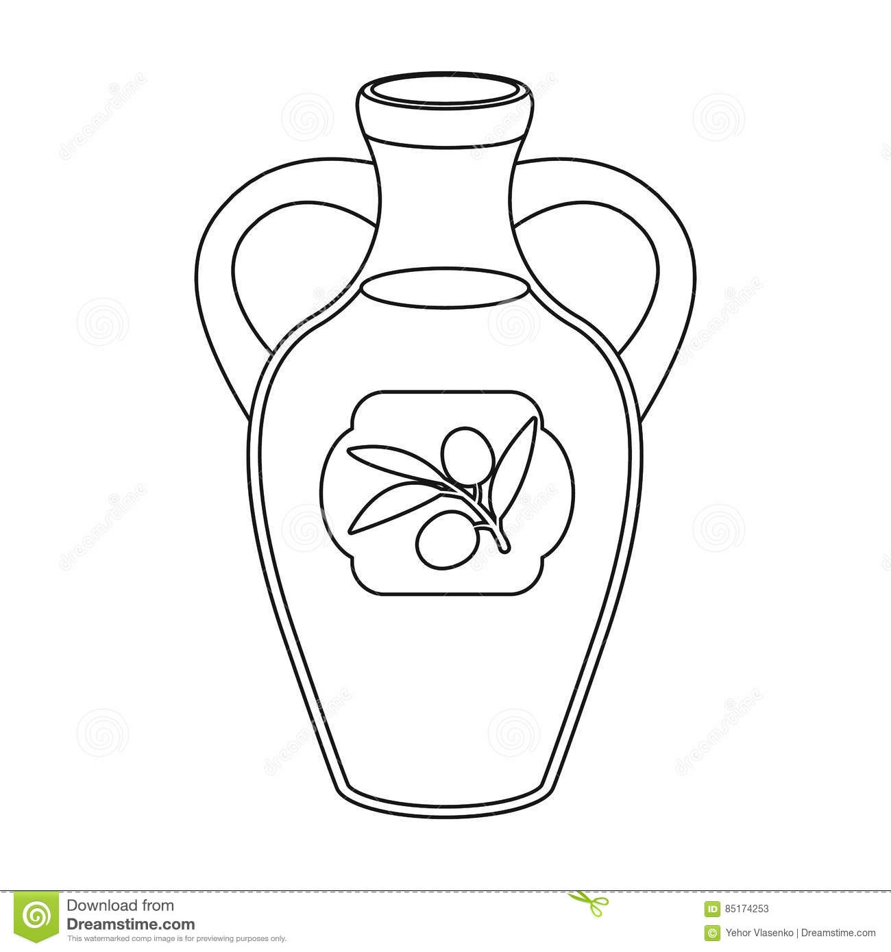 healthy food coloring pages - stock illustration bottle olive oil icon outline style isolated white background spain country symbol stock vector illustration design image
