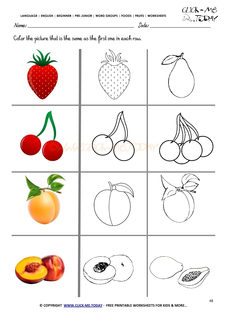 healthy food coloring pages - 2456 fruits worksheet 48 same fruit worksheet