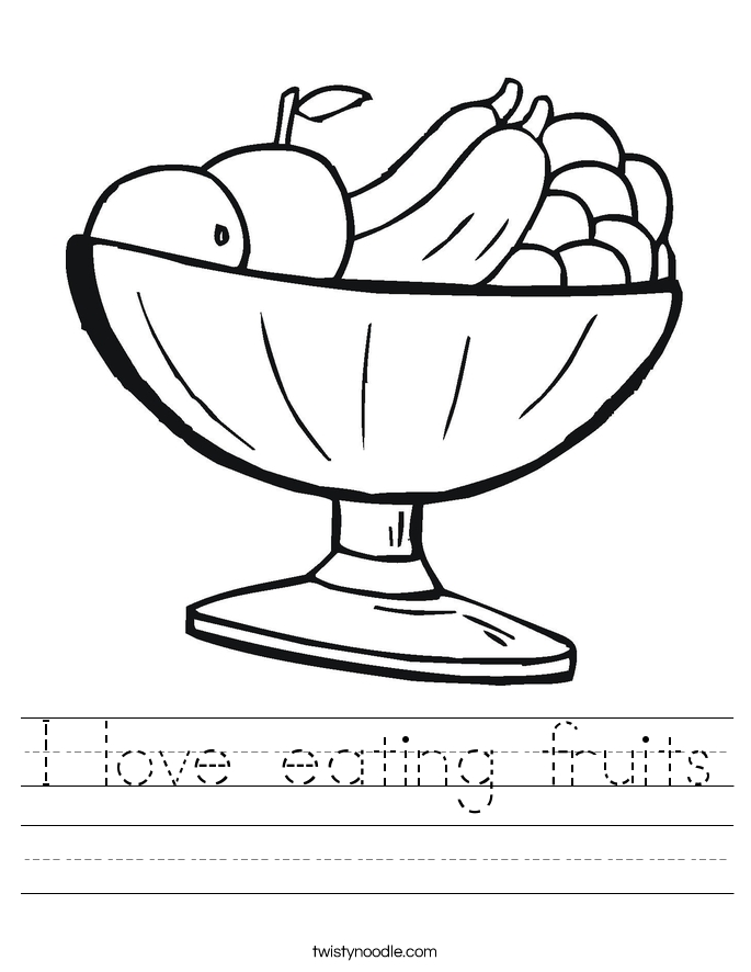 healthy food coloring pages - i love eating fruits worksheet