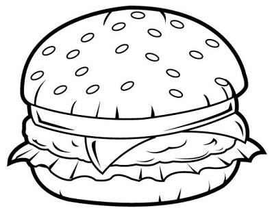 healthy food coloring pages - ment dessiner un hamburger