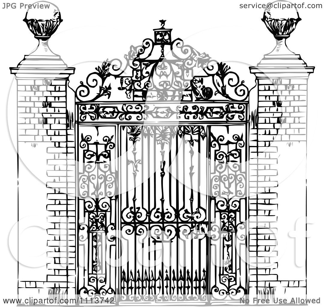 heart anatomy coloring pages - vintage black and white ornate wrought iron gate