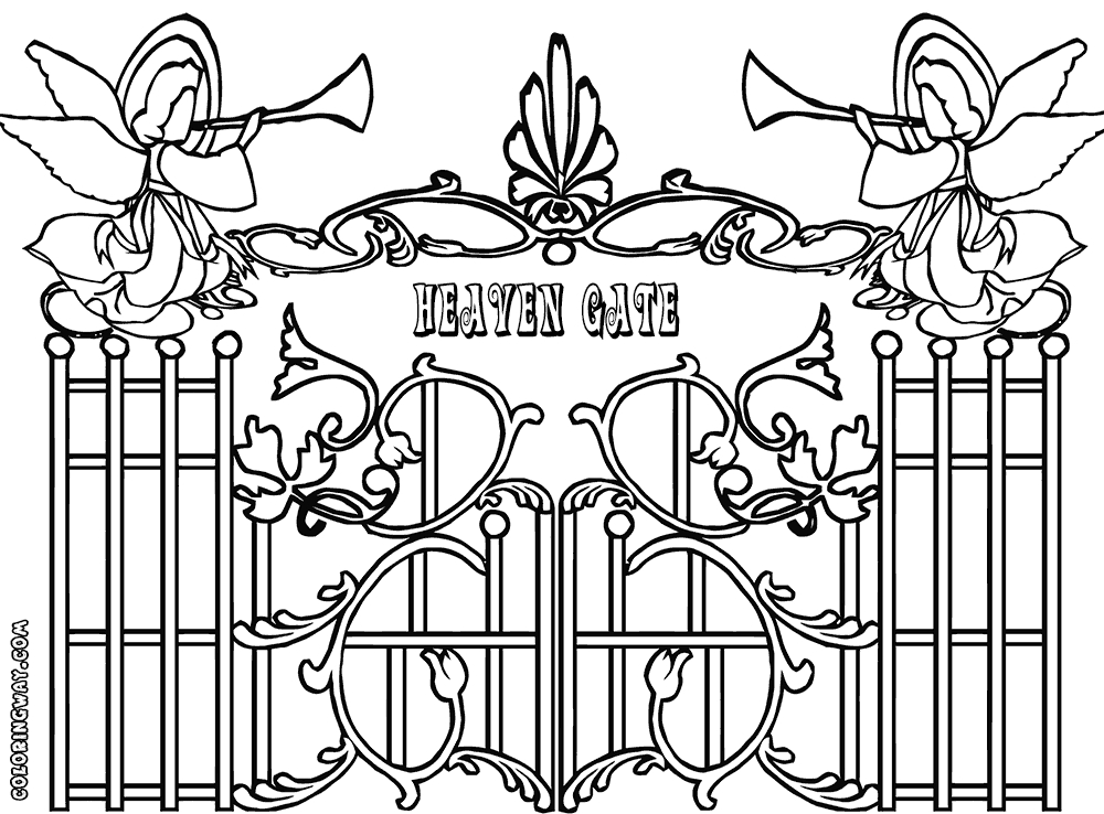 heaven coloring pages - gate colorings