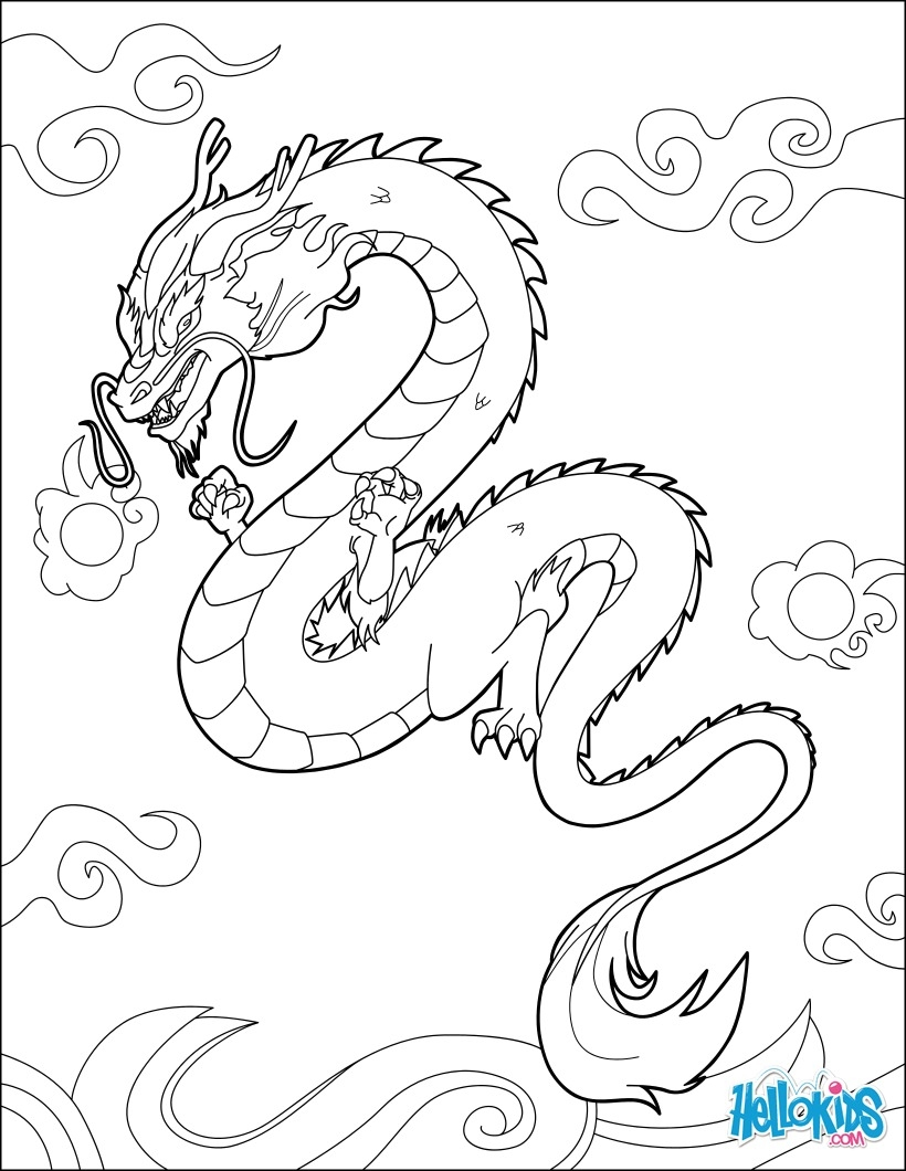 hellokids com coloring pages - chinesischer drache