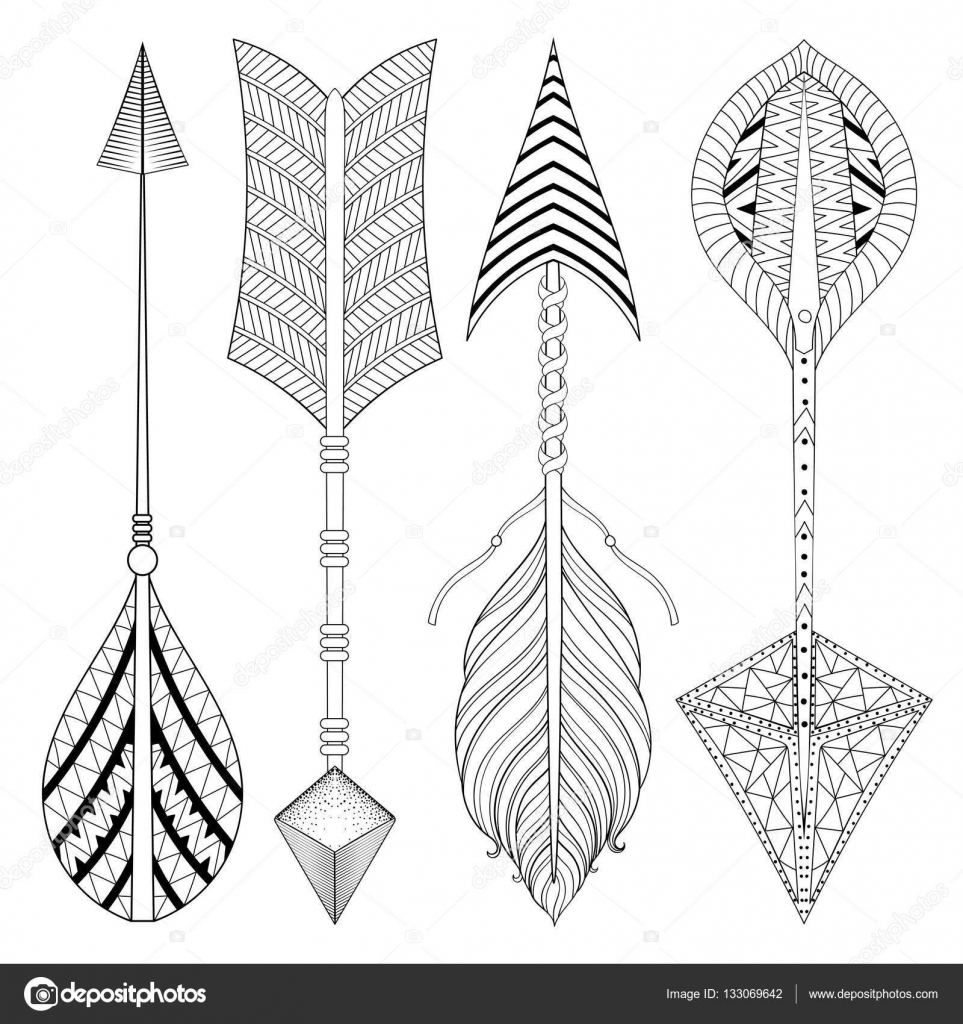 henna coloring pages - stock illustration boho chic ethnic arrow set
