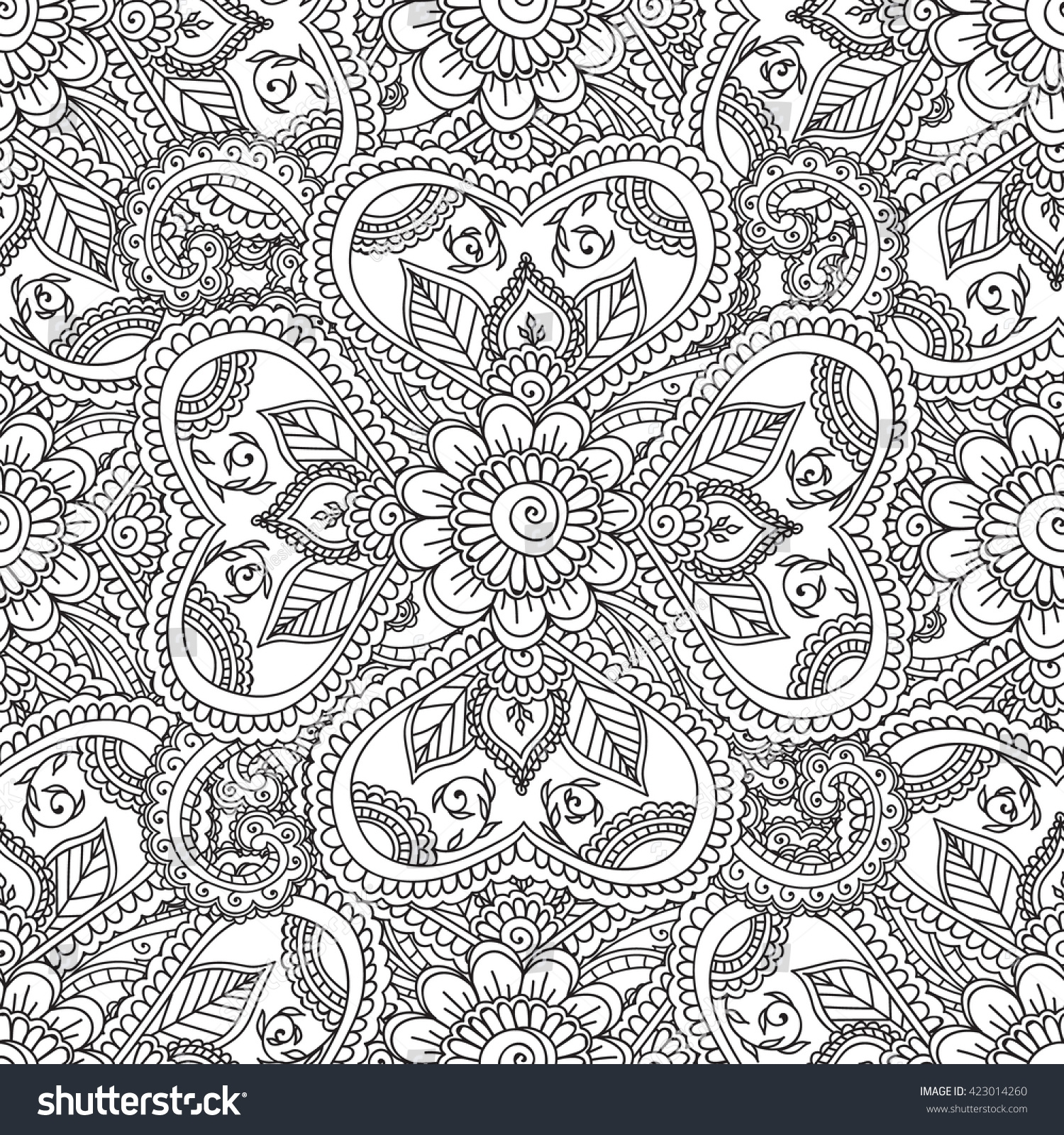 henna coloring pages - stock vector coloring pages for adults seamless pattern henna mehndi doodles abstract floral paisley design