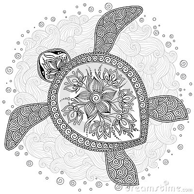 henna coloring pages - stock illustration pattern coloring book decorative graphic turtle pages kids adults henna mehndi tattoo style doodles image