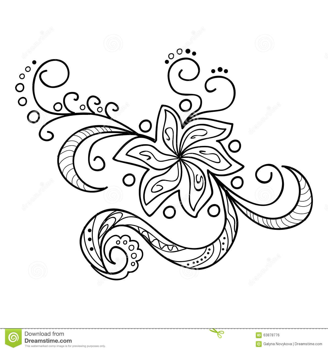 Henna Coloring Pages - Zentangle Flowers Stock Vector Image Of Made