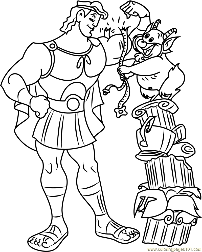 Hercules Coloring Pages - Hercules with Philoctetes Coloring Page Free Hercules
