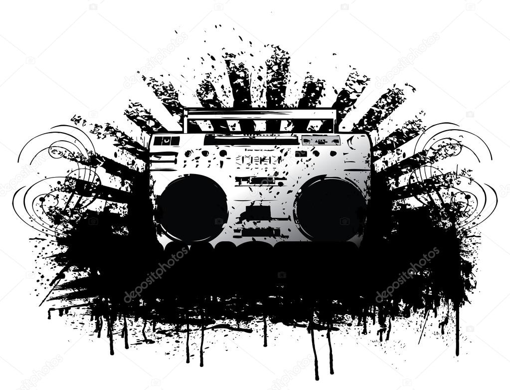 hip hop coloring pages - stock illustration ghetto blaster boombox sketch drawing