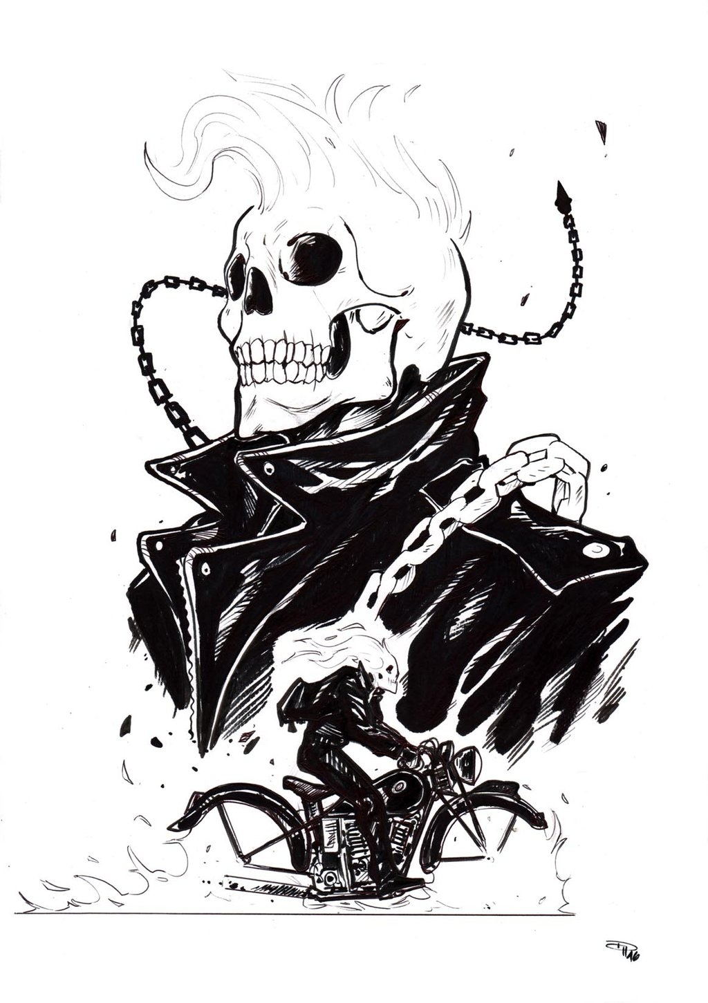 hip hop coloring pages - Rockabilly Ghost Rider