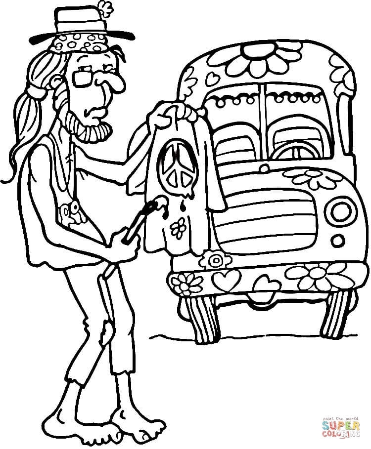 hippie coloring pages - hippie coloring pages for adults sketch templates
