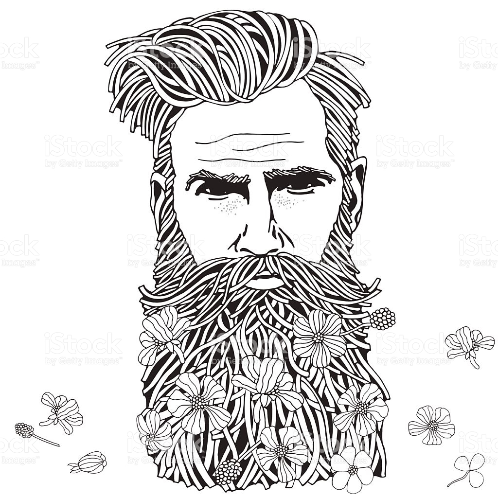 hipster coloring pages - bearded hipster man coloring book page for adult gm