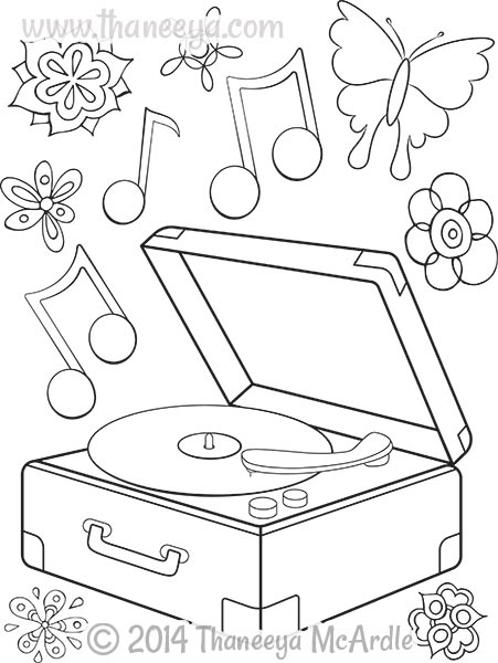 hipster coloring pages - hipster record player coloring book