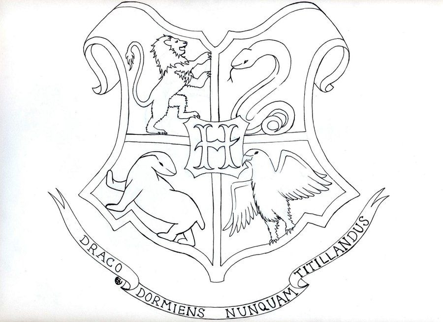 hogwarts coloring pages - hogwarts crest coloring page