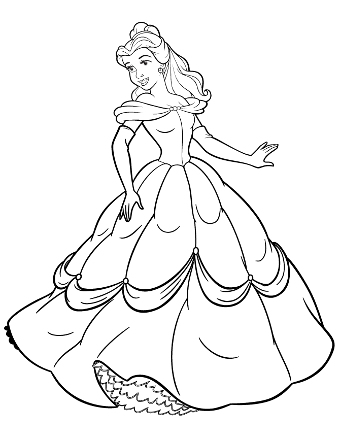 holiday coloring pages - best disney princesses coloring pages belle 8135