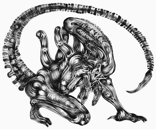 horror coloring pages - alien drawings