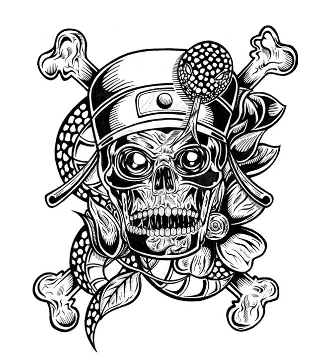 horror coloring pages - skull tatto