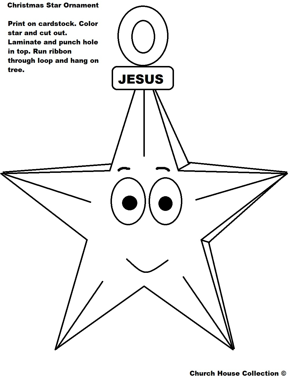 house coloring pages - christmas jesus star ornament cutout