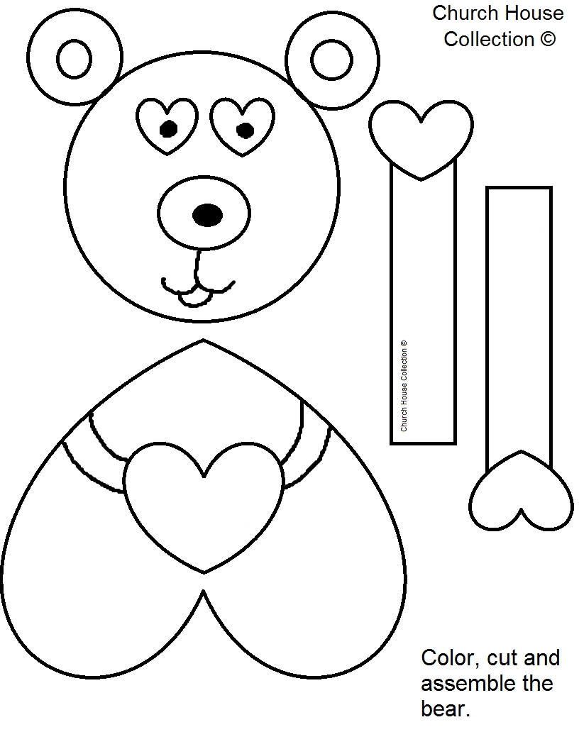 house coloring pages - jesus loves me beary much valentines