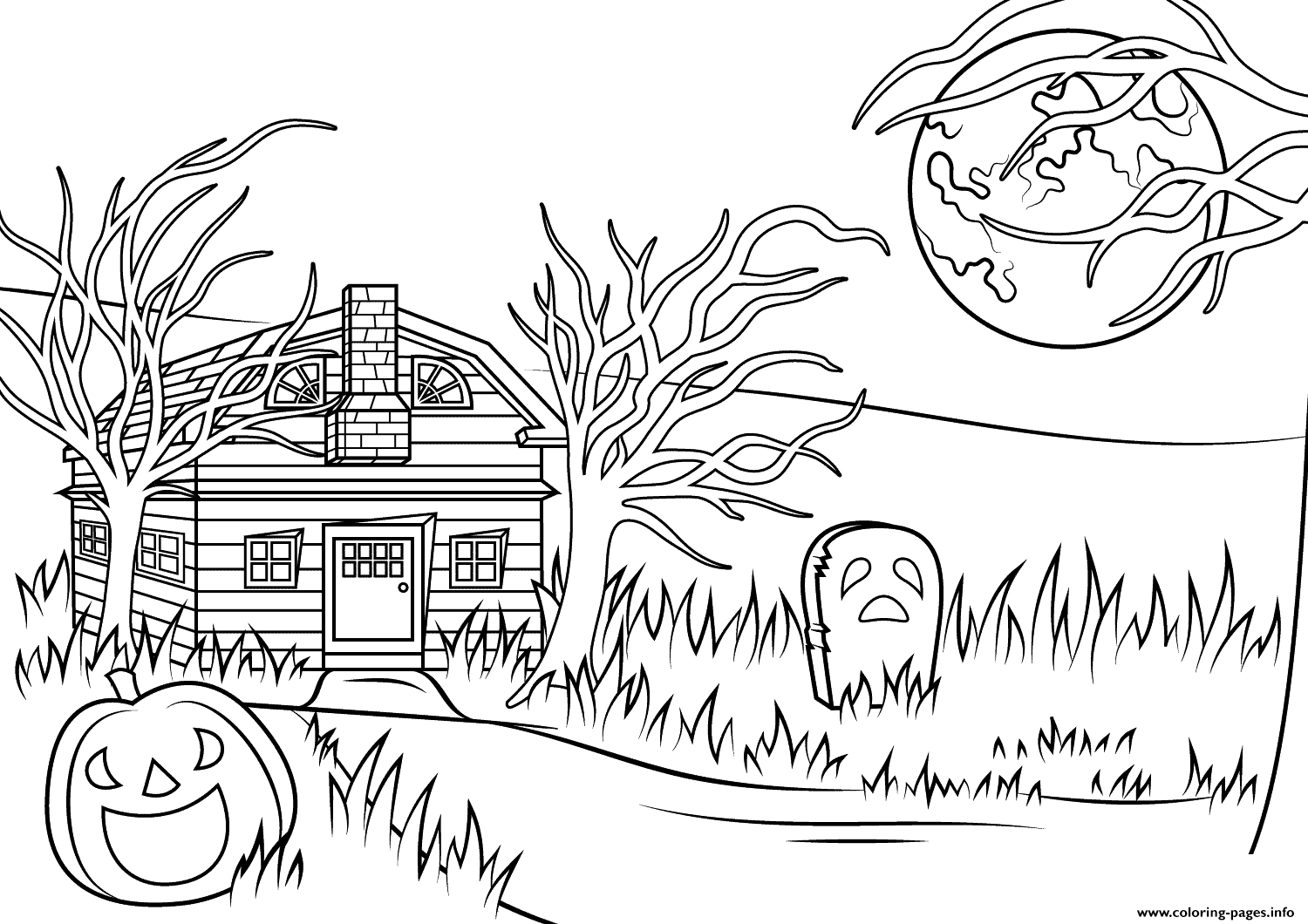 house coloring pages printable - haunted house halloween printable coloring pages book
