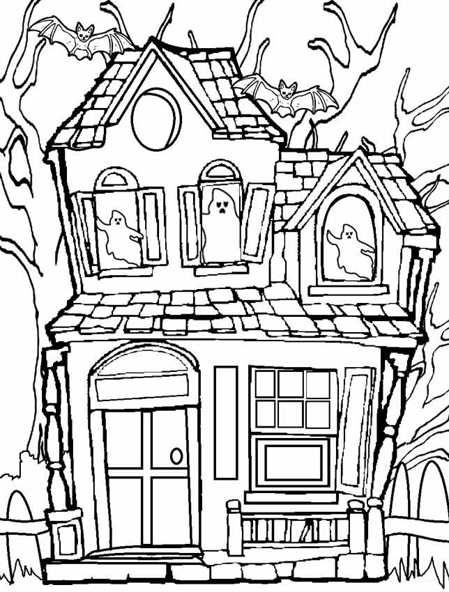 House Coloring Pages Printable - Printable Haunted House Coloring Pages