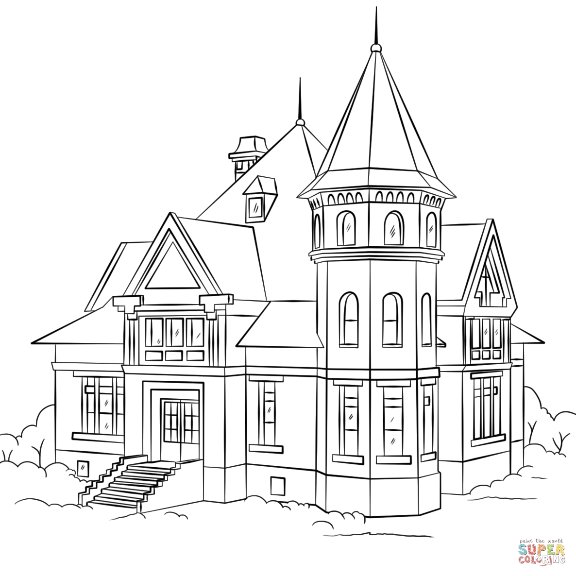 house coloring pages printable - victorian house