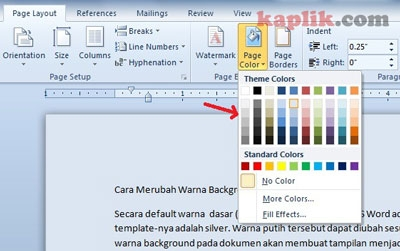 How to Change Page Color In Word - Cara Merubah Warna Background Ms Word Document Kaplik