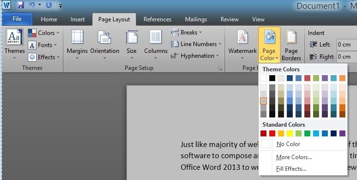 how to change page color in word - how to change page background color in word