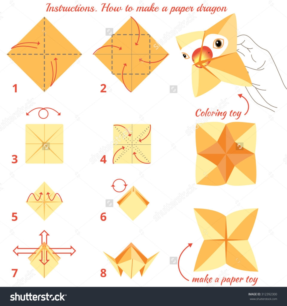 how to make coloring pages - instructions how make paper bird origami stock illustration 2
