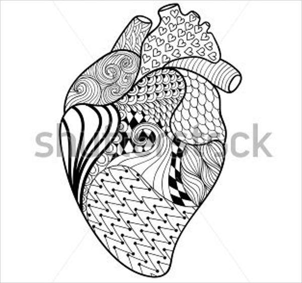 human heart coloring pages - heart coloring page