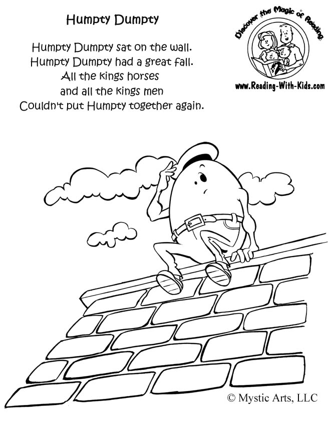 Humpty Dumpty Coloring Page - Inkspired Musings Nursery Rhymes with Humpty Dumpty