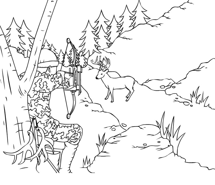 hunting coloring pages - hunter sketch templates